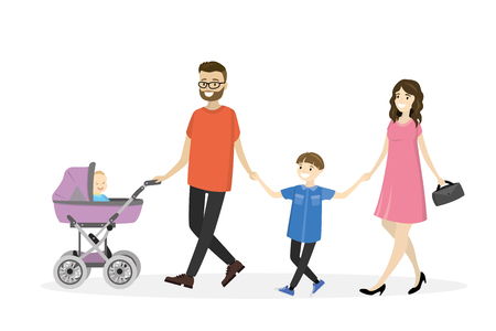 Happy young family with a baby carriage walking.Isolated on white background, cartoon vector illustration.