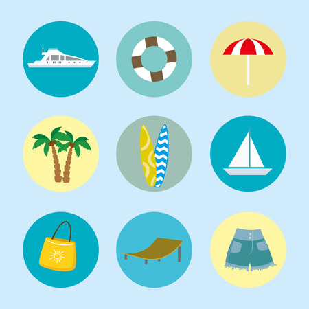 Cartoon summer and holiday icons,set of beach flat objects,vector illustration