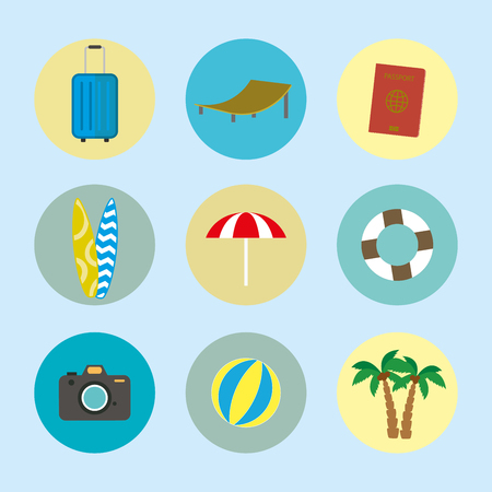 Cartoon summer and holiday icons. Stock Illustratie