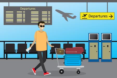 Cartoon caucasian man the passenger rolls the airport trolley wi Ilustração