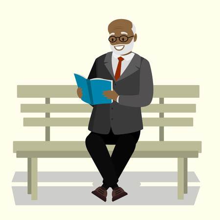 Happy old man or grandfather sitting on bench and read book, isolated on white background,cartoon vector illustration Vektorové ilustrace