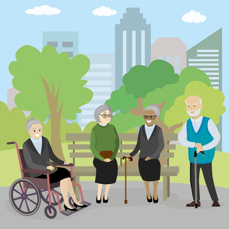 Old people in park, cartoon vector illustration
