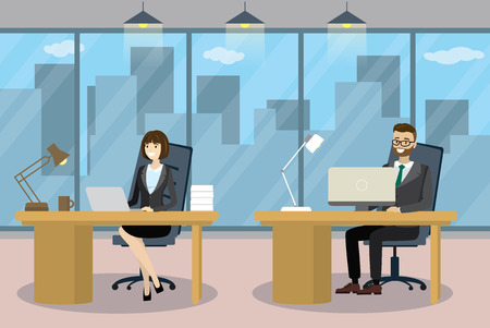 Caucasian Business people in Cartoon Modern office Stock Illustratie