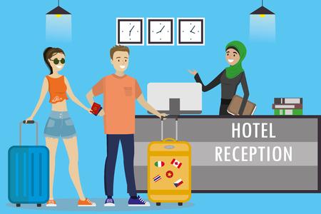 Junge arabische Frau Rezeptionistin in hijab.Caucasian Touristen steht an der Rezeption. Reisen, Gastfreundschaft, Hotelbuchungskonzept. Flache Vektorillustration der Karikatur