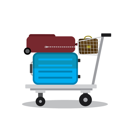 Airport trolley with suitcases and bag, cartoon vector illustration