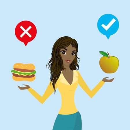 Glückliche afroamerikanische Frau wählt gesunde Lebensmittel.