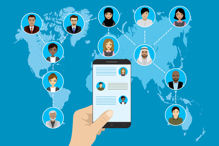 Business Team building or global social network. Different avatar people on world map. Smart technology.Flat Vector illustration  イラスト・ベクター素材