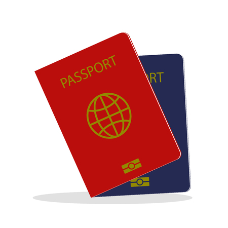 Two Cartoon passports ,isolated on white background,vector illustration