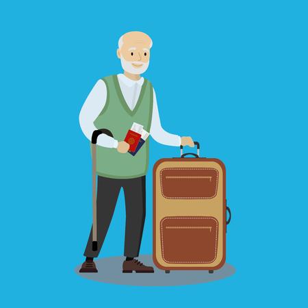 Caucasian Grandfather with suitcase,cartoon vector illustration