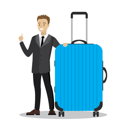 young caucasian businessman holding blue modern suitcase,cartoon smiling male,isolated on white background,vector illustration