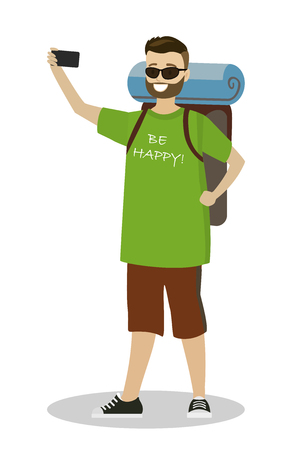 Young caucasian backpacker makes a selfie,male with backpack,isolated on white background,cartoon vector illustration