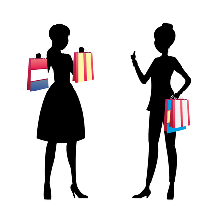 Fashion girls silhouette with shopping bags talking,isolated on white background,cartoon vector illustration