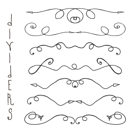 Doodle hand drawn divider lines,graphic elements,isolated on white background,vector illustration