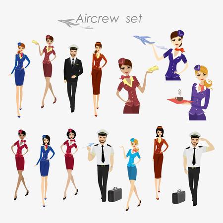 Set di equipaggio aereo, steward e piloti in forma di lavoro isolato su bianco, illustrazione vettoriale dei cartoni animati