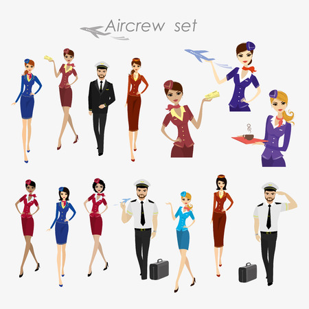 Set Of Aircraft Crew ,stewards and pilots in working form Isolated On White,cartoon vector illustration Illusztráció