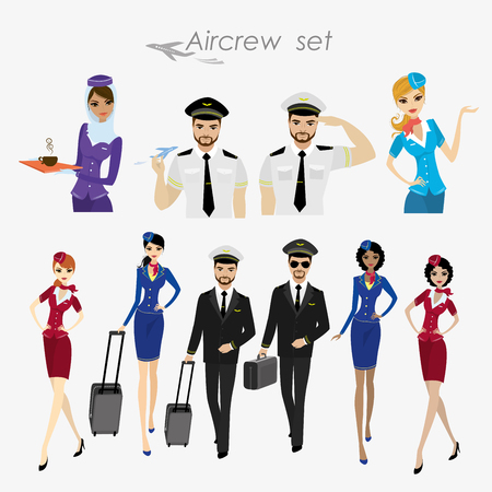 Set Of Aircraft Crew ,stewards and pilots in working form Isolated On White,cartoon vector illustration Illustration