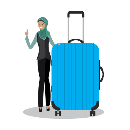 young arabic female holding blue modern suitcase,cartoon smiling girl,isolated on white background,vector illustration