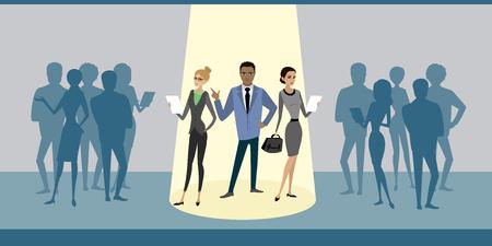 El grupo de gente de negocios de dibujos animados se destaca de la atención de la multitud, contrata la contratación de recursos humanos de raza mixta, ilustración vectorial plana