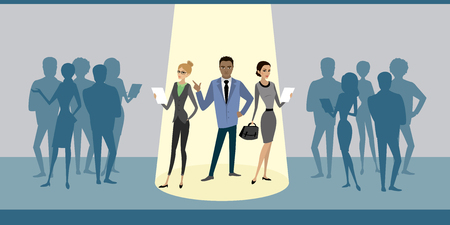 Cartoon business people group stand out from crowd spotlight, hire mix race human resource recruitment,flat vector illustration