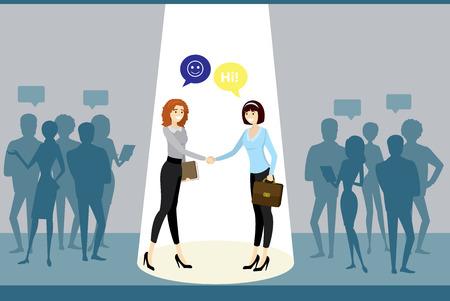 Negotiations between business groups, successful work and caucasian business women handshake,cartoon business people,flat vector illustration Ilustrace