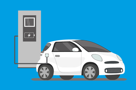 Electric car charging, Cartoon modern car,vector illustration Çizim