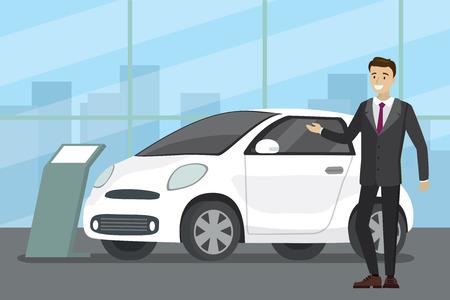 La vendita di una nuova auto, venditore di cartoni animati presso l'autosalone mostra il veicolo, illustrazione vettoriale piatta Vettoriali