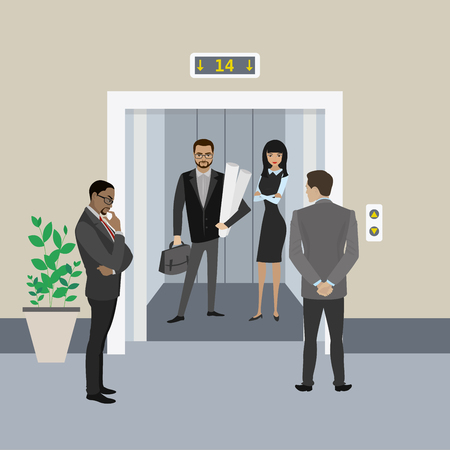 Cartoon business people in elevator and near, lift with open doors,flat vector illustration Çizim