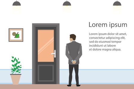 Cartoon businessman searching for job, interview candidate,door in office room,flat vector illustration