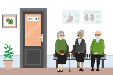 Porte de dessin animé au bureau du médecin et les personnes âgées attendent, illustration vectorielle à plat