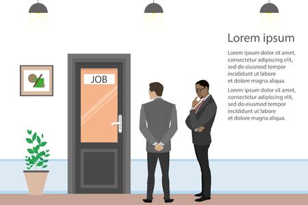 Los empresarios de dibujos animados o los trabajadores de oficina están buscando trabajo, entrevista de dos candidatos, puerta en la sala de la oficina, ilustración vectorial plana