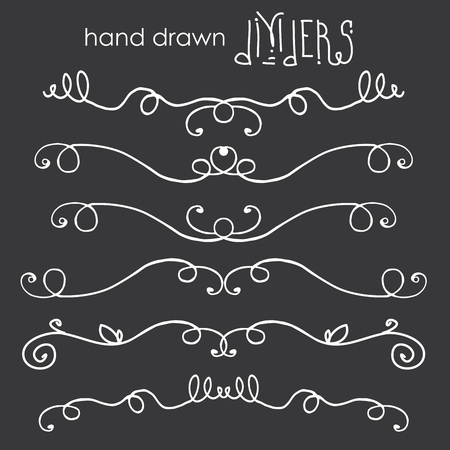 Hand drawn doodle dividers, white line border on dark background, vector  illustration