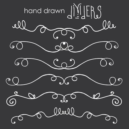 Hand drawn doodle dividers, white line border on dark background, vector  illustration
