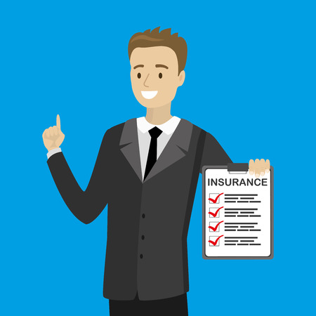 Karikaturmann zeigt Autoversicherung leer, glücklicher Mann, der Dokument hält, flache Vektorillustration vector