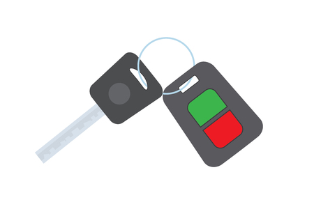 Cartoon Car key isolated on white background,flat vector illustration