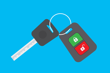 Cartoon Car key isolated on blue background,flat vector illustration