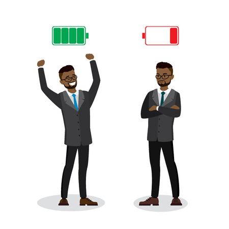 Strong and tired businessmen,Green Charged and red discharged battery,isolated on white background,flat vector illustration