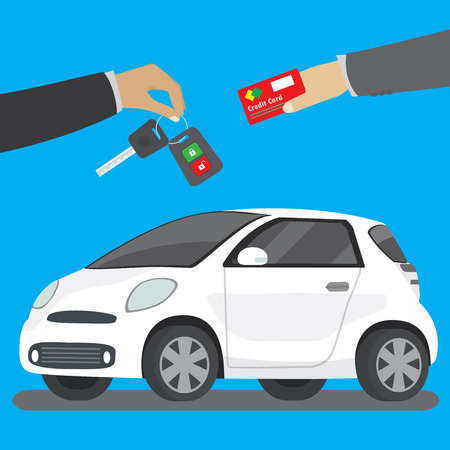 Car seller hand giving key to buyer. Buying or renting business,flat  vector concept illustration Standard-Bild - 122803755