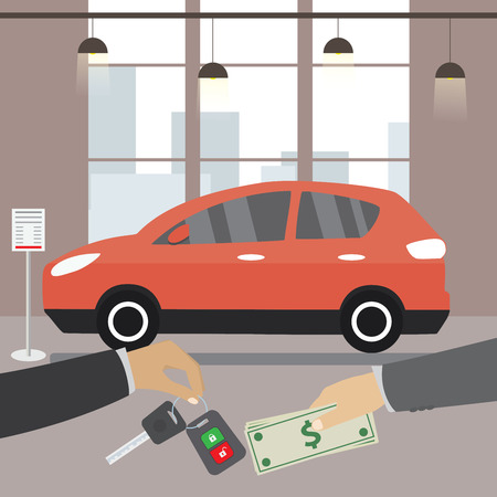 Car seller hand giving key to buyer. Buying or renting business,flat  vector concept illustration