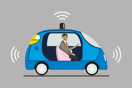 Self driving car with male passenger, Cartoon autonomous  blue auto isolated,vector illustration