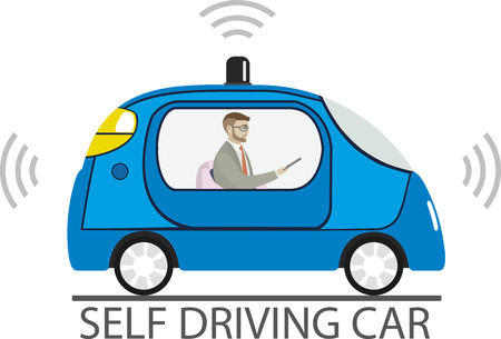 Self driving car with male passenger, Cartoon autonomous  blue auto isolated on white background,vector illustration Standard-Bild - 122803764