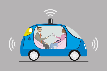 Self driving car with male and female passengers, Cartoon autonomous  blue auto,flat vector illustration Ilustração