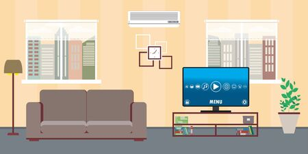 Living room home interior with two windows,sofa,tv and air condi