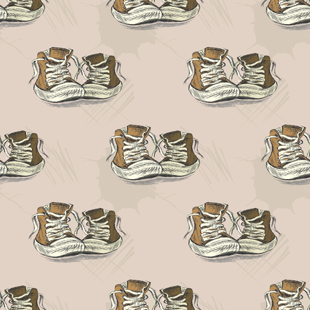 Seamless pattern with vintage sneakers,hand drawn background or texture,vector illustration