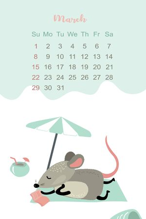 March month 2020 template design. Calendar 2020 with funny and cute rat. Vertical layout. Animal character on beach. Vector illustration