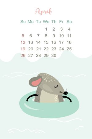 April month 2020 template design. Calendar 2020 with funny and cute rat. Vertical layout. Animal character floats on a rubber ring in the sea. Vector illustration