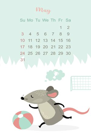 May month 2020 template design. Calendar 2020 with funny and cute rat. Vertical layout. Animal character playing football. Vector illustration Stock Illustratie