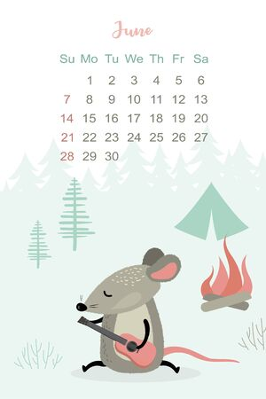 June month 2020 template design. Calendar 2020 with funny and cute rat. Vertical layout. Animal character plays the guitar. Vector illustration