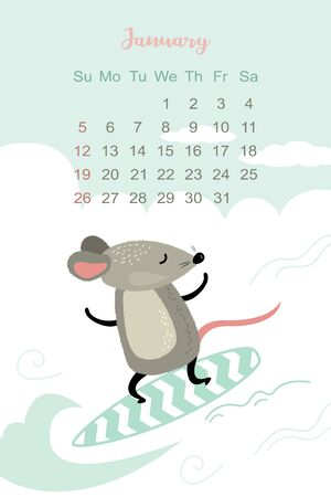 January 2020 template design. Calendar 2020 with funny and cute active rat on surfboard. Vertical layout. Stock Illustratie
