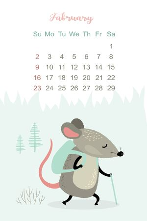 February month 2020 template design. Calendar 2020 with funny and cute active rat. Stock Illustratie
