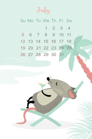 July month 2020 template design. Calendar 2020 with funny and cute rat. Vertical layout. Animal character with a cocktail lies in a chaise lounge. Vector illustration